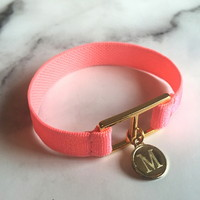 10 color initial banding bracelet - neon orange