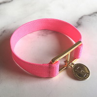 10 color initial banding bracelet - neon pink