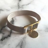 10 color initial banding bracelet - silver