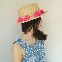 hotpink flower panama hat
