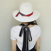 3color ribbon panama hat (10 ribbon color)
