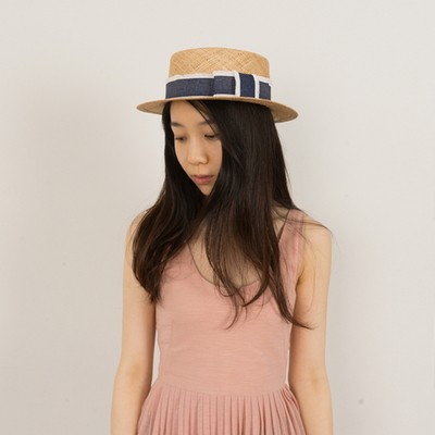 denim ribbon hepburn hat