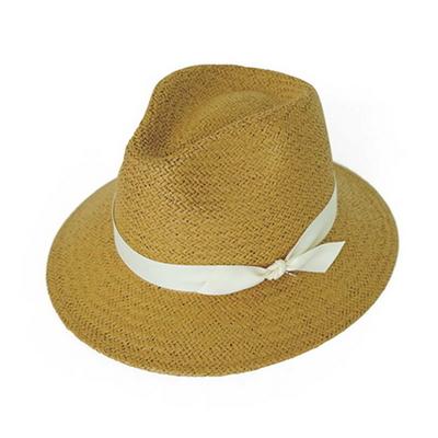 basic mannish panama hat ocher (7 ribbon color)