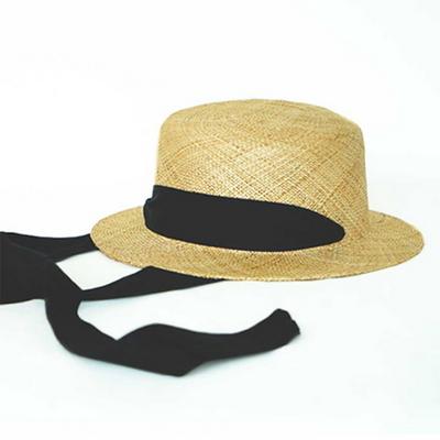 strap hepburn hat  (2 ribbon color)