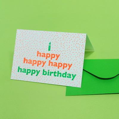 Happy birthday 생일축하 케이크 네온 오렌지 그린 레터프레스 카드