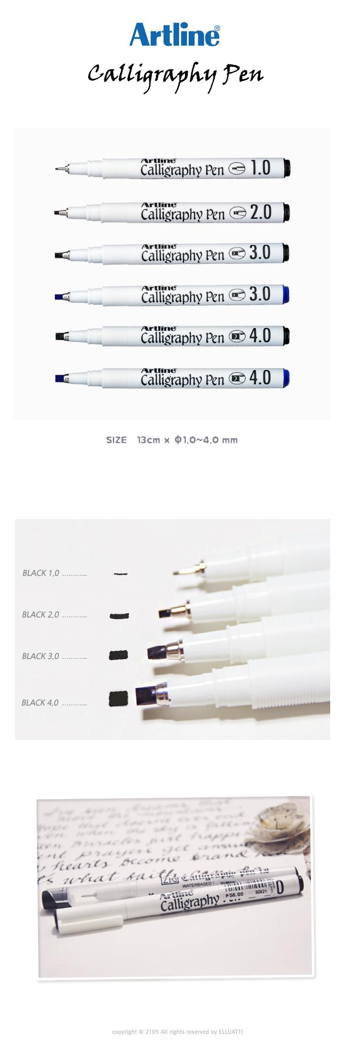 ARTLINE - 캘리그라피 펜 (1.0-4.0mm) - 엘루아띠, 3,000원, 데코펜, 캘리그라피펜
