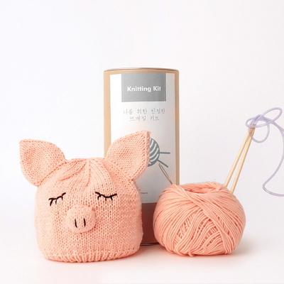 니팅키트- 신생아 돼지모자