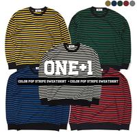 1+1기모Color Pop Stripe Sweatshirt