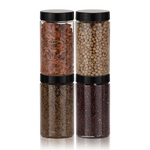 냉장고 원형(블랙) 보관용기(중) 4개+스티커 32종