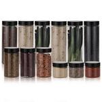 냉장고 원형(블랙) 보관용기 알뜰형 12p(대6 중3 소3)+스티커 32종