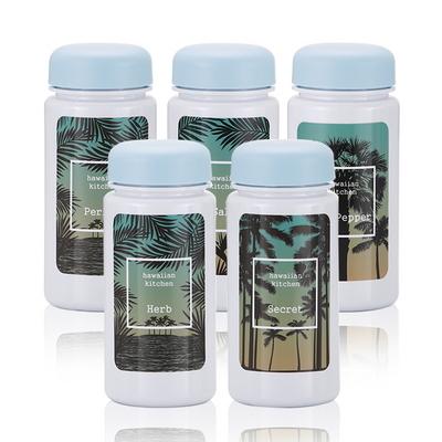 하와이안키친 유백색(블루) 양념통 5P+스티커 8종