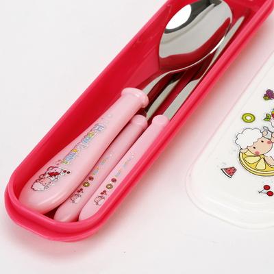 해피램 유아 수저+젓가락세트(핑크)