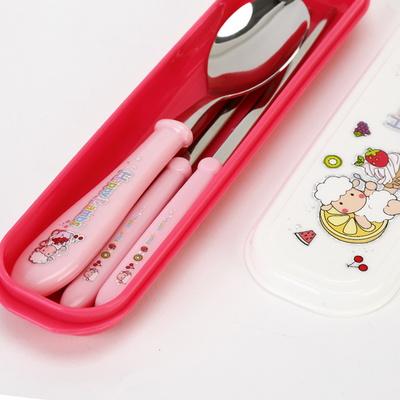 해피램 유아 수저+젓가락+케이스세트(핑크)