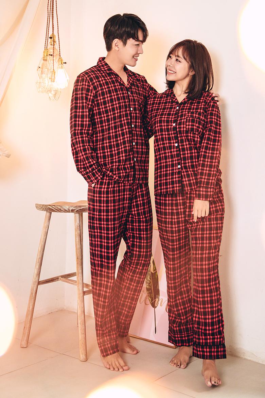 타탄 체크 커플 잠옷세트 이지웨어 홈웨어 - 로로걸, 19,900원, 잠옷, 커플파자마