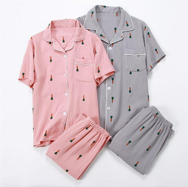 미니당근 반팔 긴바지 커플 잠옷세트 이지웨어 홈웨어 - 로로걸, 21,900원, 잠옷, 커플파자마