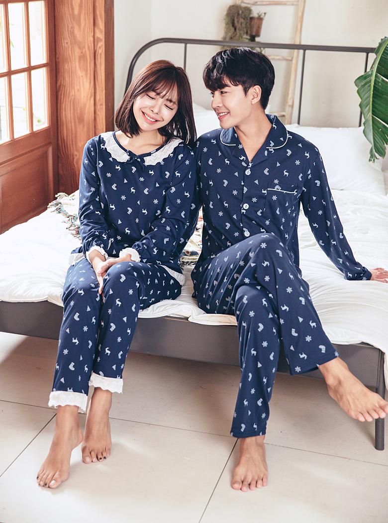 겨울 이야기 커플 잠옷세트 이지웨어 홈웨어 - 로로걸, 19,900원, 잠옷, 커플파자마