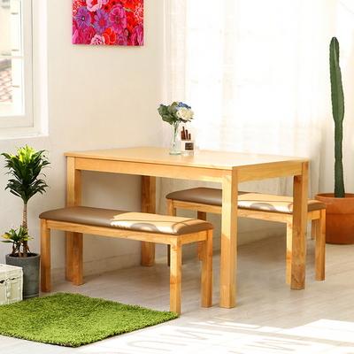 모쿠 4인 원목식탁 세트 (의자 2개 벤치1개)