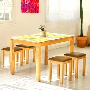 모쿠 4인 원목식탁 세트 (의자2개 스툴2개)