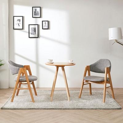 스칸디안 카페 사각 티테이블 세트-그레이 (의자 2개 포함)