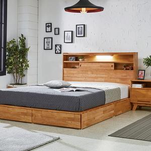소나타 원목평상형 침대 (민무늬미닫이타입) - 퀸