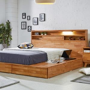 소나타 원목평상형 침대 (민무늬미닫이타입) - 라지킹