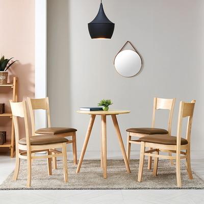브라우니 2-4인 원형 식탁 티테이블 세트(의자 2개)