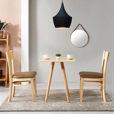 브라우니 원목 가죽 식탁 의자(2개)