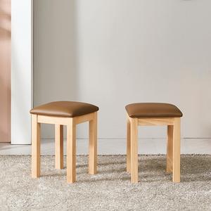 브라우니 원목 가죽 스툴 의자 (2개)