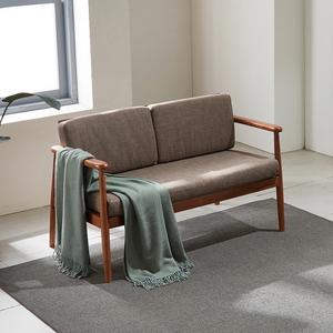 리치 원목 패브릭 2인용 쇼파 의자 (베이지)
