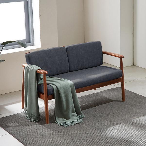 리치 원목 패브릭 2인용 쇼파 의자 (챠콜)
