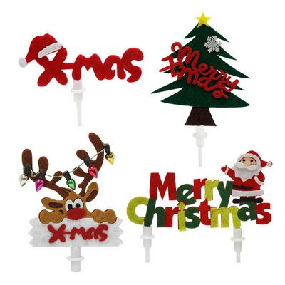 크리스마스케익장식 펠트 5개묶음 4종중택1