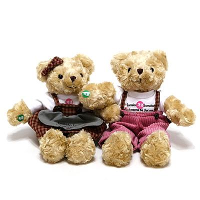 체크테디베어녹음인형- 브라운여자곰