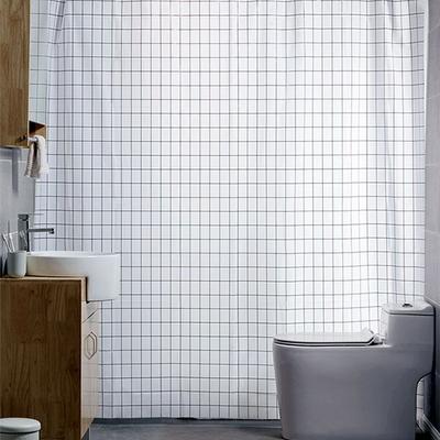 모던 화이트 체크 욕실 샤워커튼 180x180cm