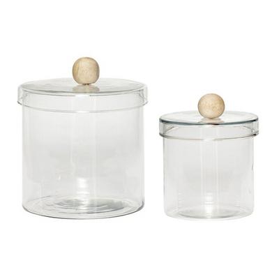 Jar w/lid, glass/wood