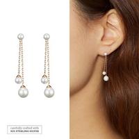 925실버 진주드롭이어링-Double Pearls-RG