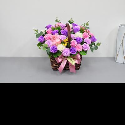 바이올렛50 - 비누장미카네이션꽃바구니 대전둔산동꽃집