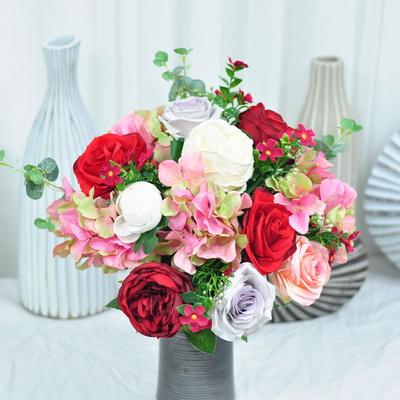 화사한레드핑크 산소꽃 성묘꽃 조화 꽃다발 추모제꽃