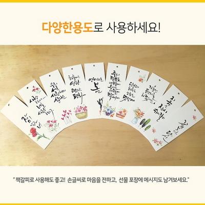 앳원스-캘리그라피용 고평량수채화플라워무지택20매 책갈피