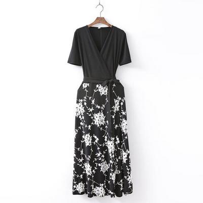 Rose Combo Wrap Long Dress