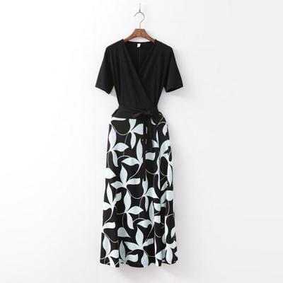 Leaf Combo Wrap Long Dress