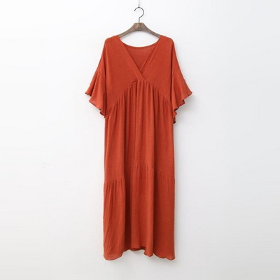 Autumn Cancan V-Neck Long Dress