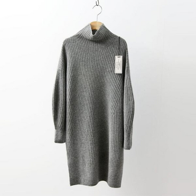 Hoega Cashmere Wool Turtleneck Oblique Dress