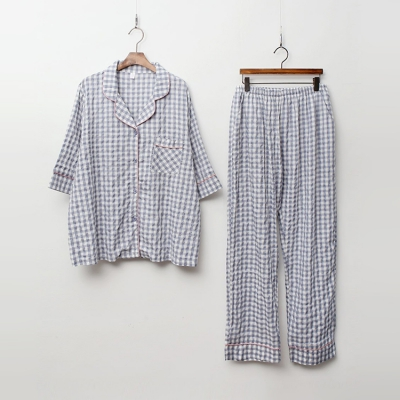 New Check Pajamas Set - 7부소매