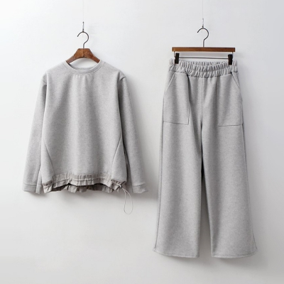[SET] Cotton Shirring Sweatshirt + Wide Pants