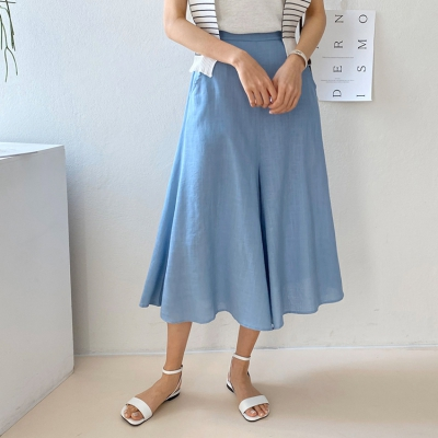 Linen Wide Culottes Pants - 치마바지