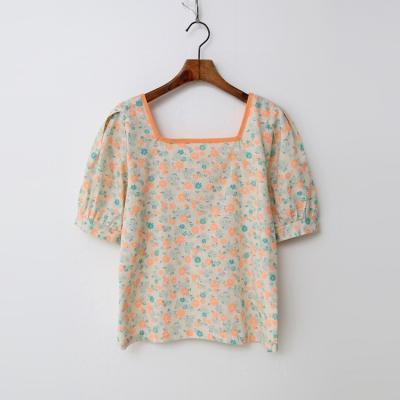 Linen Neon Flower Blouse