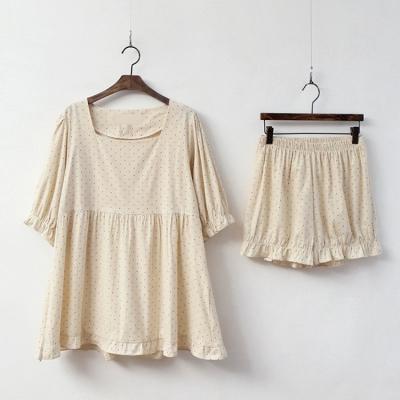 Dot Puff Pajama Set 여성 홈웨어 파자마 잠옷