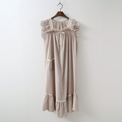 Beige Check Pajama Set - 커플룩 여성 홈웨어 파자마 잠옷