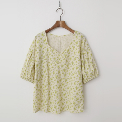 Linen Cotton Flower Blouse