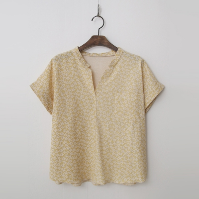 Linen Cotton Floral Blouse